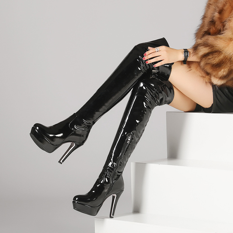 ФОТО 2016 Winter Women Over The Knee Boots Patent leather High Heels thigh high boots Plus Size Red Black Sexy Shoes Z465