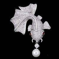 OBN New Micro Paved Cubic Zircon Pretty Gold Tone Fish Brooch Pearl For Women Men Dresses Pins Sweater Clips Hot Sale