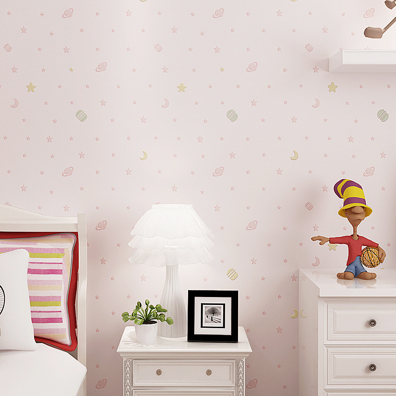 Bright and fresh Star Moon cute Children series Wallpaper Fabric Non woven Boy Room Girl Bedroom baby Cartoon Princess wallpaper in Wallpapers from Home Improvement