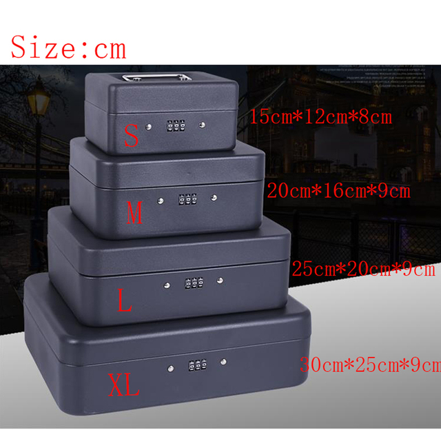 Portable Security Safe Box Money Jewelry Storage Collection Home School Office Compartment Tray Pword Lock L 4 Colors