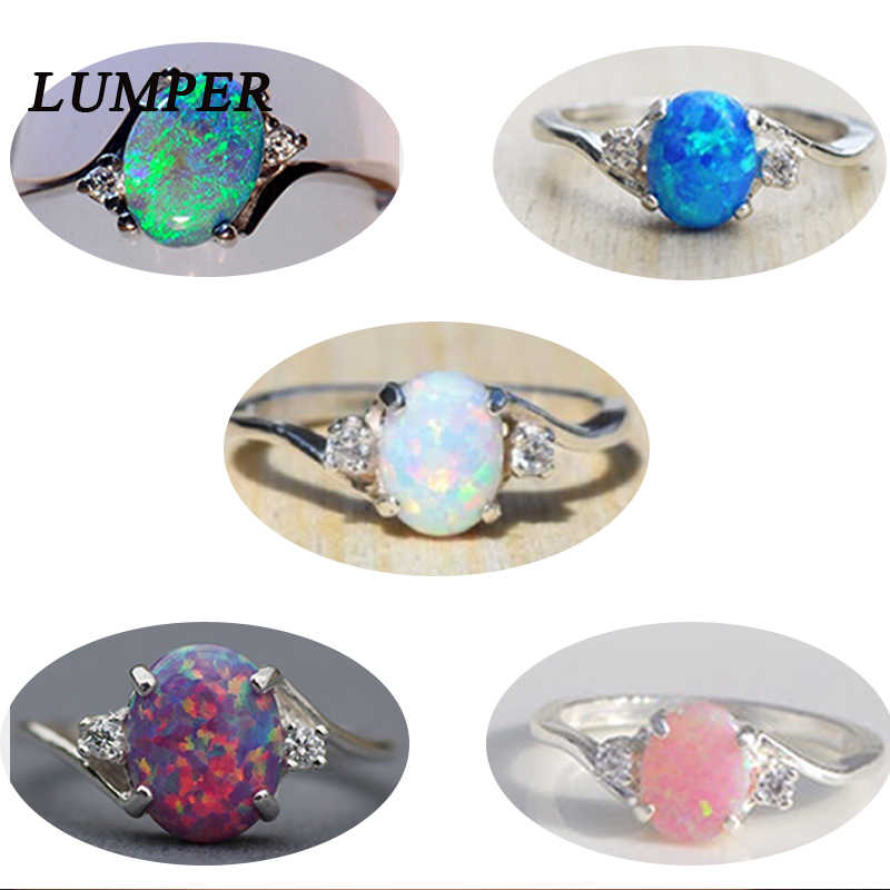 LUMPER Trendy Big Oval Eivorm Blue Fire Opal Ring Kubieke Zirkoon Halo Engagement Trouwringen voor Vrouwen 2018 size5-11