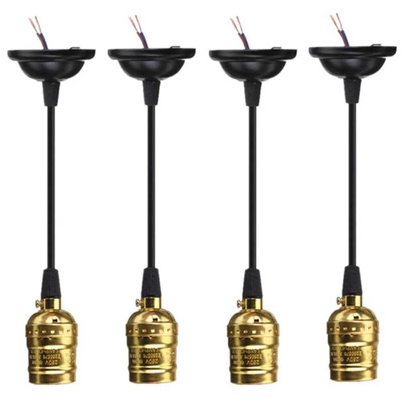 LumiParty 4PCS Golden 110-220V E27 Socket Screw Bulbs Edison Retro Pendant Lamp Holder With Wire Without Switch