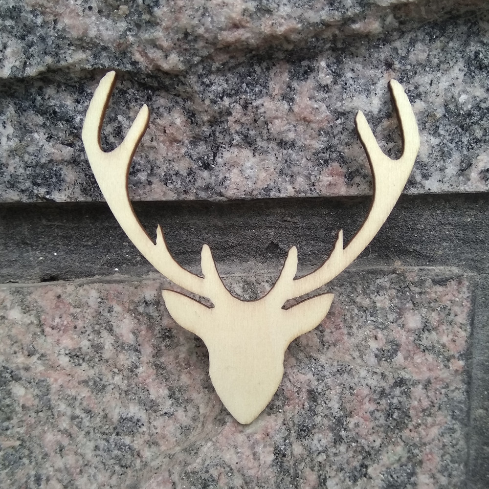 10pcs 65x70mm wood wooden deer antlers christmas tree for Antler decorations for home