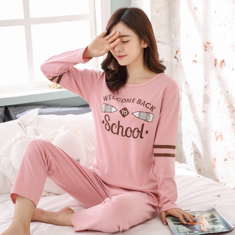2019 Women Pajamas Sets Autumn Winter New Women Pyjamas Cotton Clothing Long Tops Set Female Pyjamas Sets NightSuit Mother Sleep 91