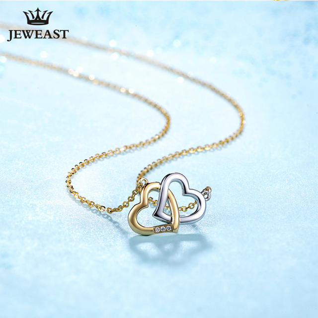 18K Gold Diamond Necklace Pendant Love Heart Lock Chain charm Gift Rose real natural pure women girl lover couple wedding party 4