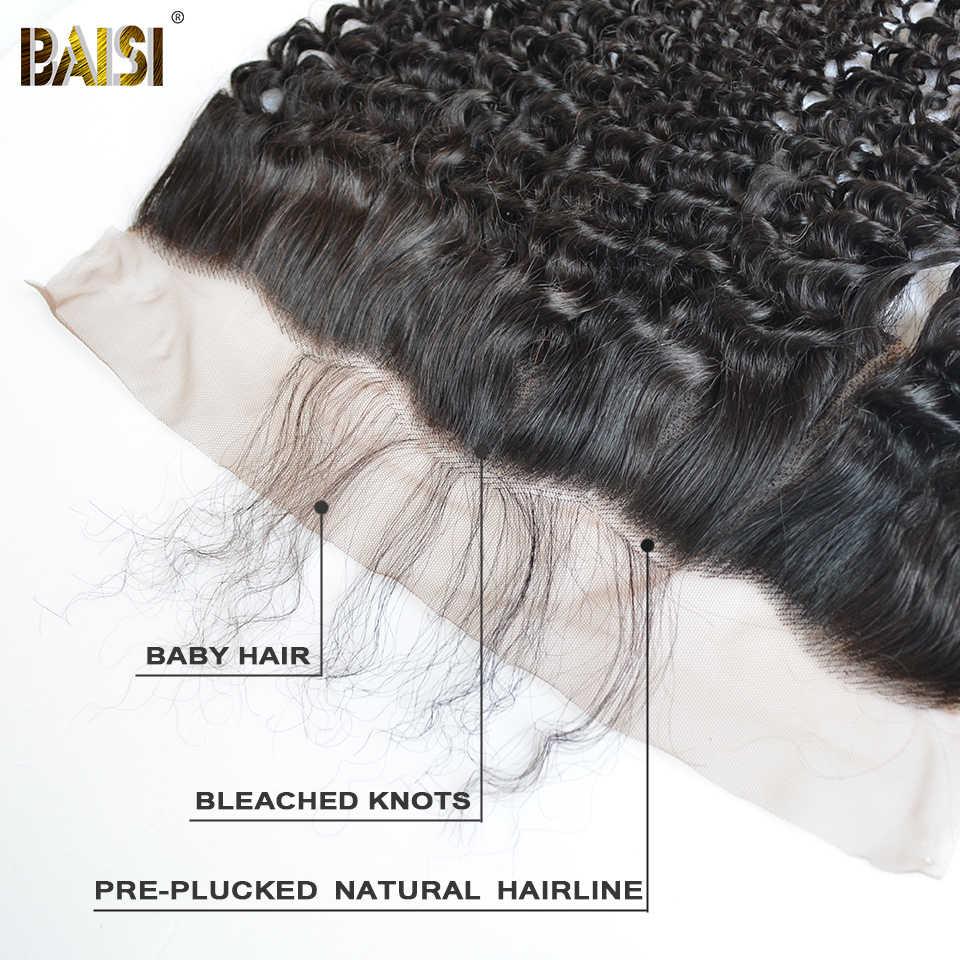 Baisi Rambut Peru Rambut Keriting Renda Frontal 13X4 Bagian Bebas Alami Rambut 100% Rambut Manusia