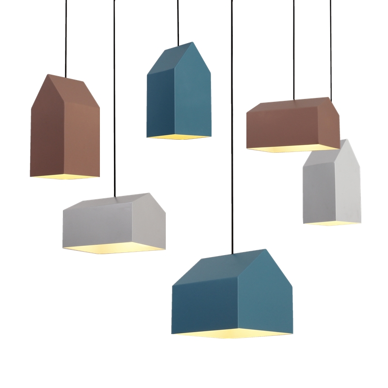 Здесь продается  Lovely Creative Nordic Geometric Cartoon Little Houses E27 Pendant Light For Children