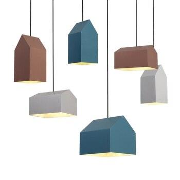 Lovely Creative Nordic Geometric Cartoon Little Houses E27 Pendant Light For Children's Room Bedroom Living Room Deco Lamps 1994