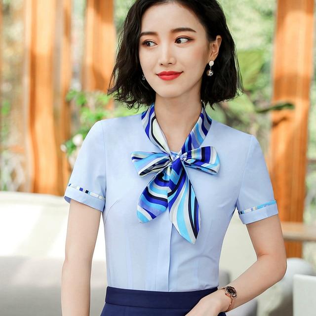 062635678c5bb0 Fashion OL Career Bow Women Shirt Short Sleeve Formal Slim Elegant Business  Office Chiffon Korean Blouse Ladies Work Wear Tops