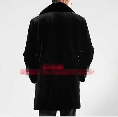 2019 Sexy vestido de Inverno Casaco de Vison Preto Blusão Longo Pano dos homens Do Vintage Turn-Down Collar Casual Brasão da Pele Do Falso plus Size XXXL V557