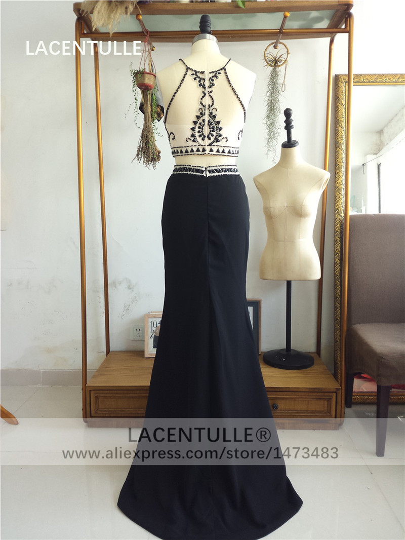 Two Pieces Black Prom Dress with Beaded Crop Top Solit Skirt (5)