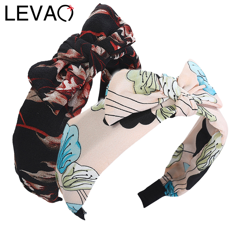 LEVAO Multi-Style Bohemian Printing Hairband Women Girls Cross Bows Knot Hair Bands Hoop Cute Bow Ties Headband Hair Accessories