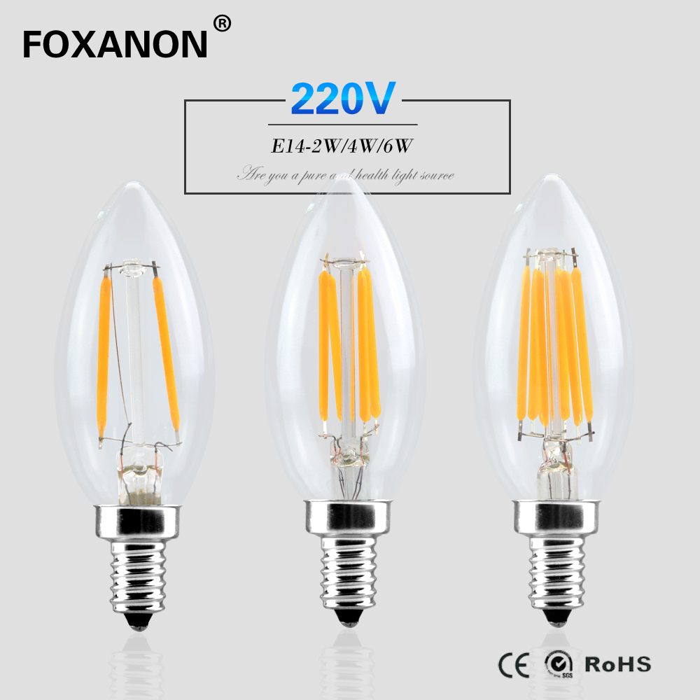 foxanon e14 dimmable led light 220v 2w 4w 6w filament lamp candle bulb lampada led retro crystal. Black Bedroom Furniture Sets. Home Design Ideas