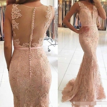 Sexy V-Neck Evening Dresses robe de soiree Illusion Lace Appliques Beaded Pink Mermaid Long Formal Dress evening dress 2019