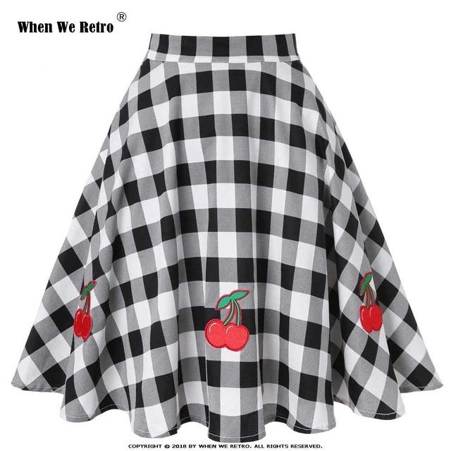 When We Retro Vintage 50s Black White Plaid Checked A-line Midi Skirt Women  High Waist Spring Summer Fall Winter Skirt VD0020 51bc50adbe97