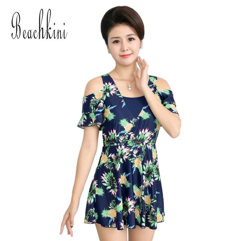 Pineapple Print Swimwear Women Dress Off The Shoulder Swimsuit Plus Size Clothing Beach Bathing Suit Ruffle Skirt 2018 цена и фото