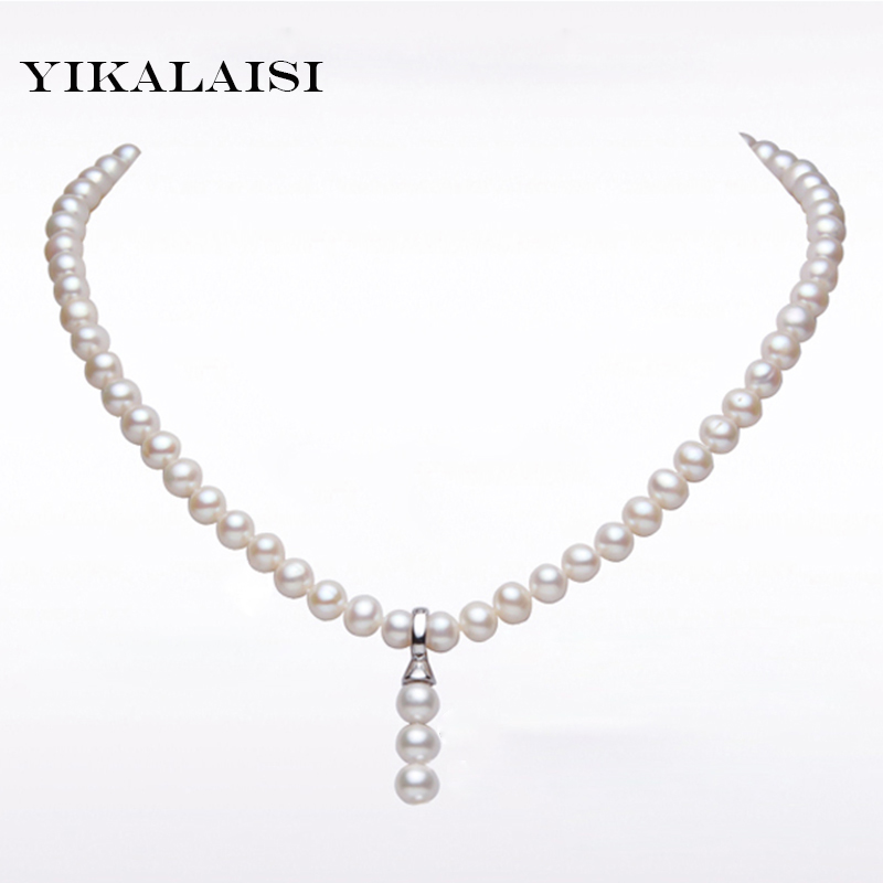 YIKALAISI 2017 100 Natural Freshwater 7 8 mm Pearl Necklace Women Pearl Jewelry 925 sterling silver