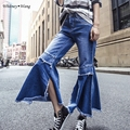 WHITNEY WANG Spring Autumn Vintage Style Split Flare Pants ripped jeans for women Denim Pants american apparel jeans femme
