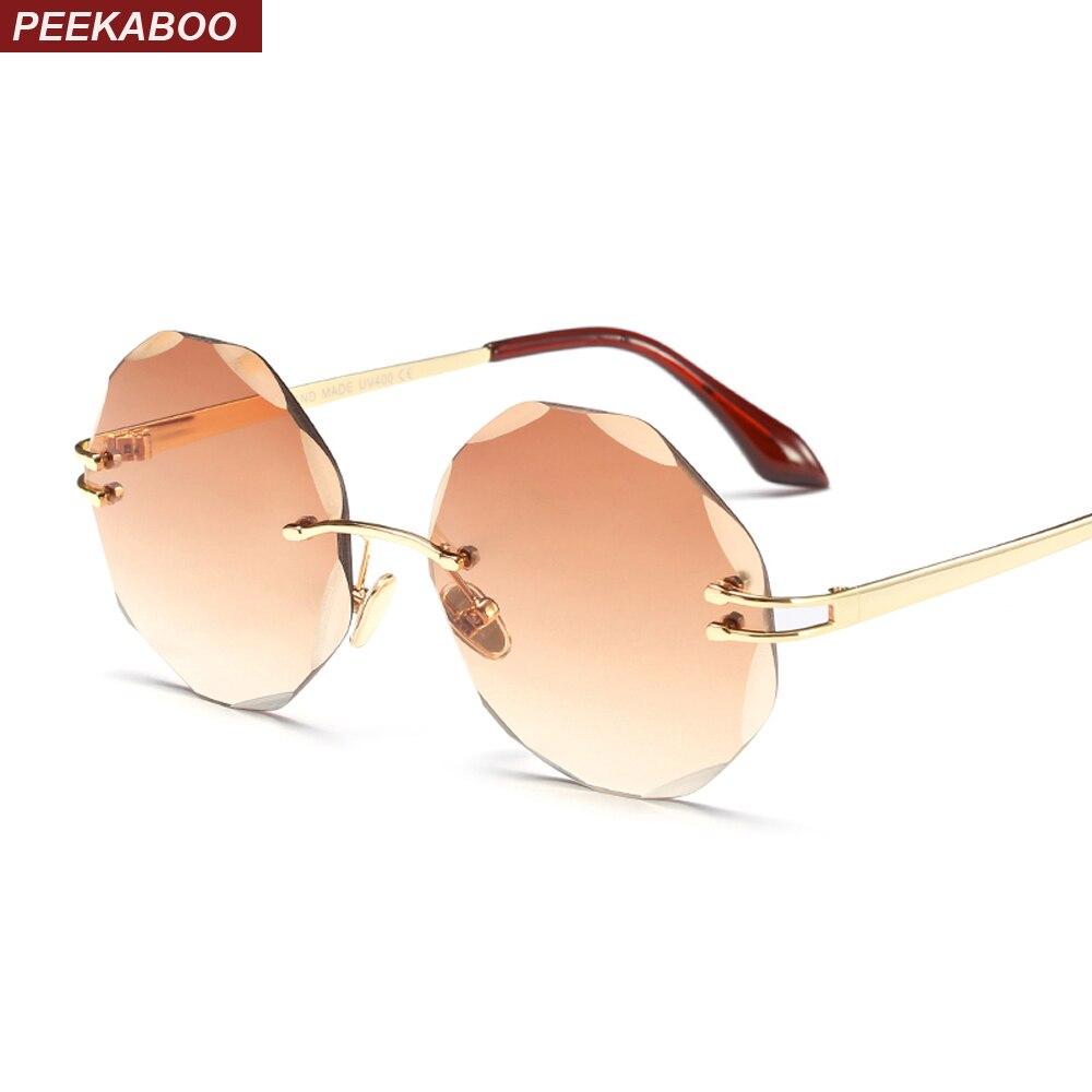 Coucou sans cadre lunettes de soleil femme ronde rétro mode 2018 brun rose sans monture gradient de lunettes de soleil femmes en métal uv400