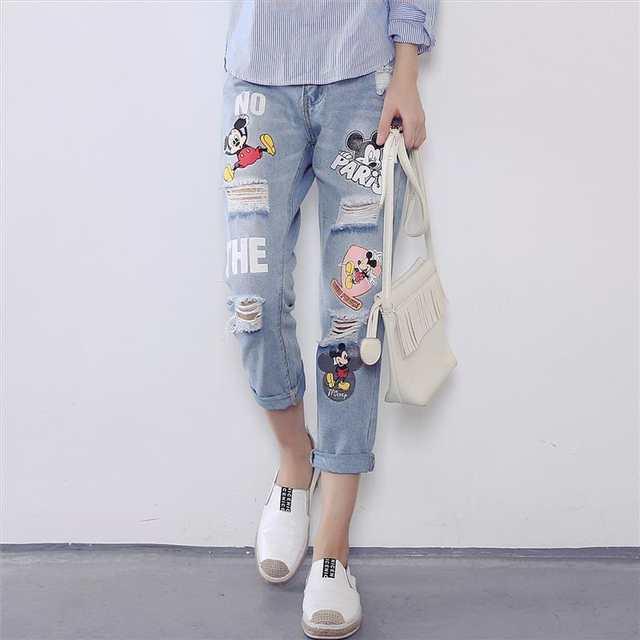 1a9f3247e1 placeholder 2017 Venta Caliente Ripped Denim Jeans Boyfriend Jeans Para  Mujeres pantalones Agujero Flojos Femeninos del Harem