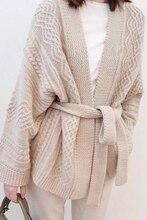 Kobiety kaszmirowy kardigan sweter 2019 nowa dostawa na wiosnę jesień V Neck pas sweter płaszcz pogrubienie kobiet luźna, wysoka End kurtka