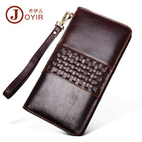 Zipper mens wallet leather genuine with coin pocket Vintage male Clutch Purses Large Capacity Men's Wallets masculine Phone Bag