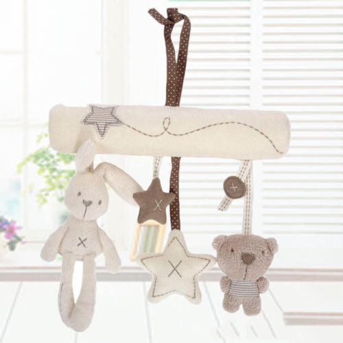 Newborn Gift Cot Hanging Baby Rattle Toy Kids Soft Plush Rabbit Musical Toy