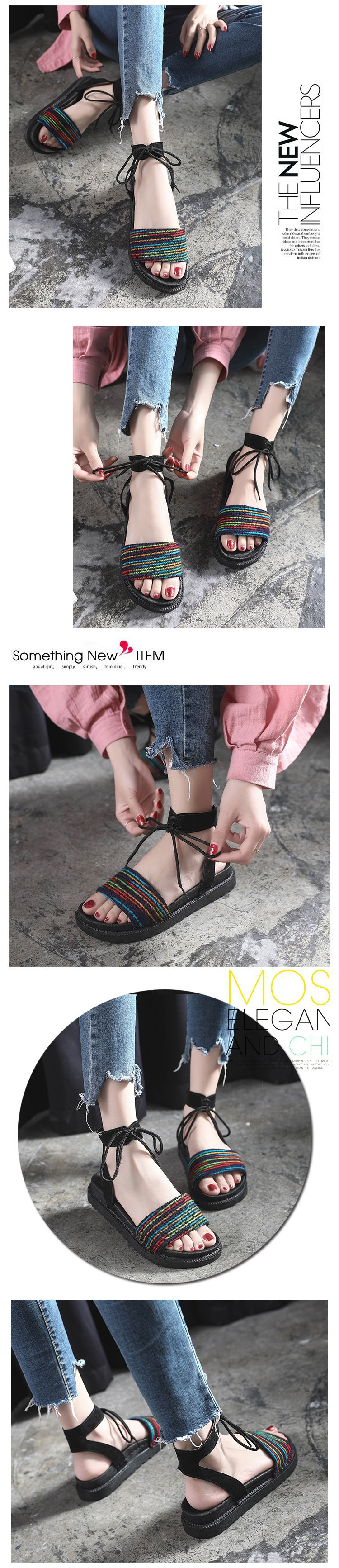 Casual Lace-up Rome Gladiator Women Sandals Solid Ankle Strap Shallow Women Shoes Summer Fashion Flat Sandals 26