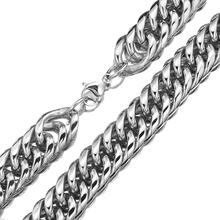 Granny Chic 18/22mm Mens Chain Heavy 316L Stainless Steel Silver(Color) Cut Double Curb Link Rombo Necklace Wholesale