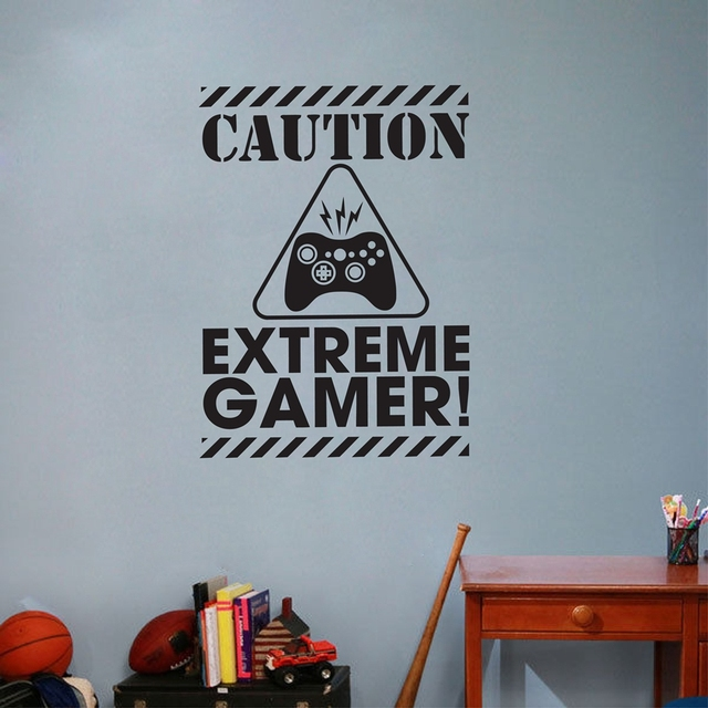 Caution Extreme Gamer Vinyl Wall Art Stickers Gaming Removable Wall Decals For Home Kids Room Decoration