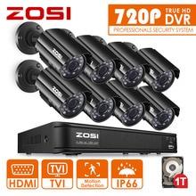 ZOSI 1080N HD 8CH CCTV Sistema de 8 Canales DVR 8 UNIDS 1.0MP bala Al Aire Libre Cámara de Vídeo Del Sistema de Vigilancia Kits de 1 TB de Disco Duro