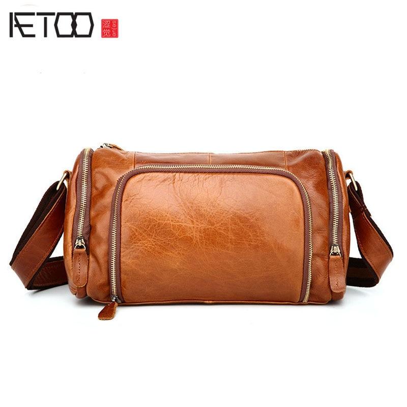 AETOO The trend of men s fashion men s fashion leisure retro retro Messenger bag
