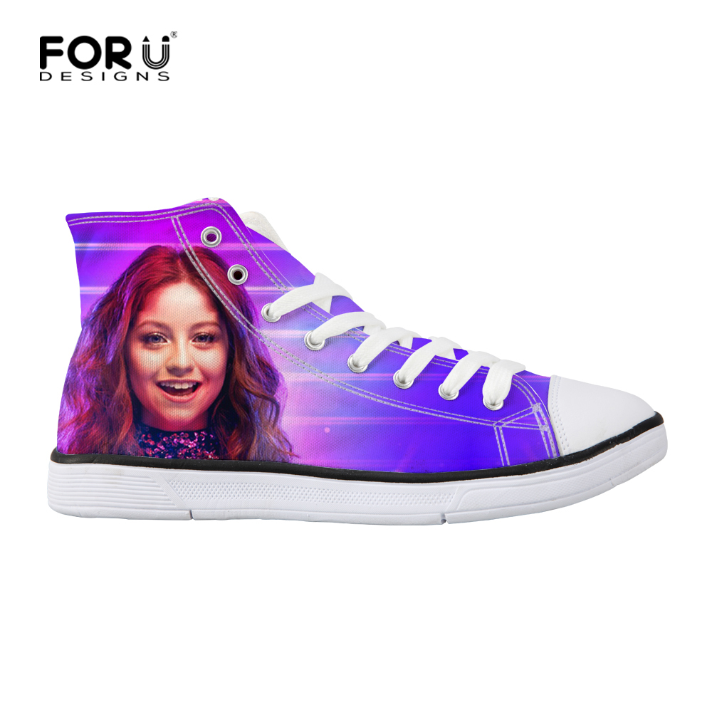 FORUDESIGNS Sneaker Women Canvas Shoes Vulcanized Soy Luna Print Teens Girls Lace Up Shoes Female Classic Walking Flats High Top