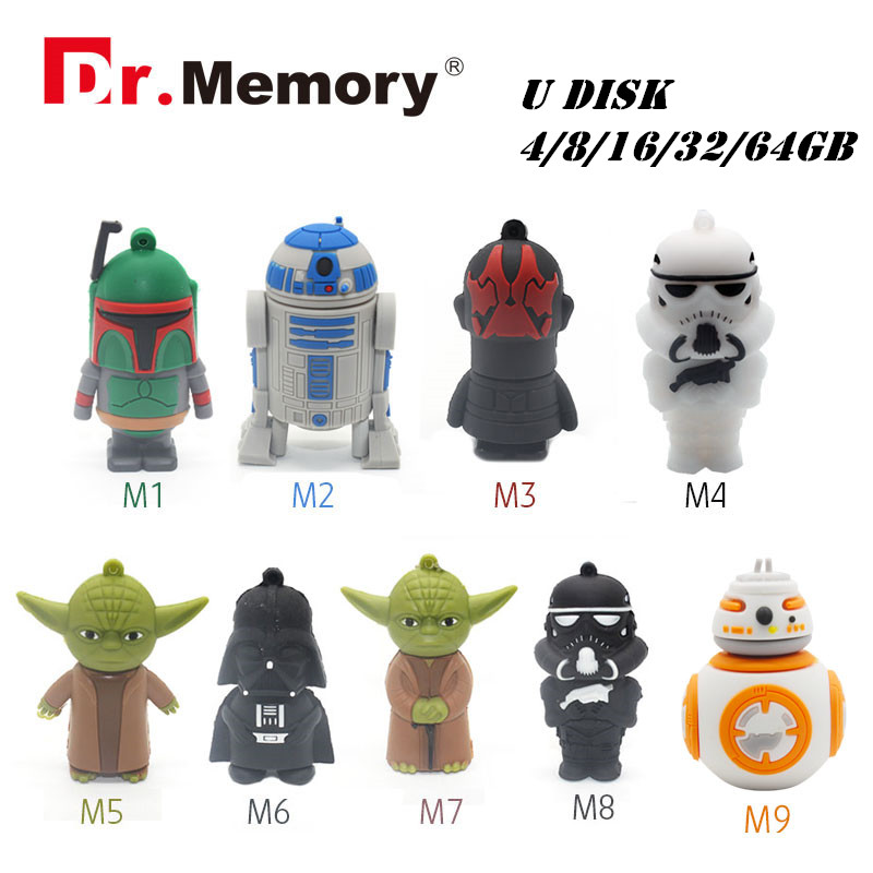 Star Wars ārējā atmiņa USB Flash Pen Drive Sitck R2D2 Pen Drive Darth Vader 32GB Pendrive 16GB 64GB