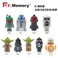 Star Wars USB Flash Pen Drive 64GB 32GB R2D2 Pen Drive 128GB Darth Vader Pendrive 16GB 8GB 4GB Cle USB Memory Stick