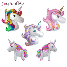 JOY-ENLIFE 1 unids Rainbow Unicorn globos de papel de aluminio Globos de dibujos animados de helio inflable Kids Birthday Party decoración suministros