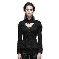 스팀 펑크 겨울 여성 캐주얼 셔츠 스팀 펑크 블랙 슬림 복고풍 분리 칼라 긴 소매 블라우스 유럽 스타