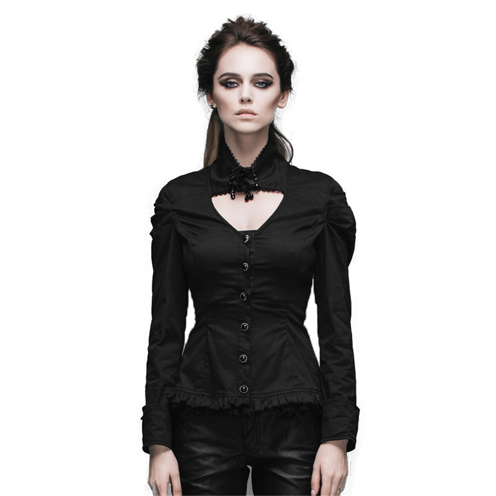 Steampunk hiver femmes décontracté Steampunk noir Slim rétro avec col amovible Blouses à manches longues Style européen