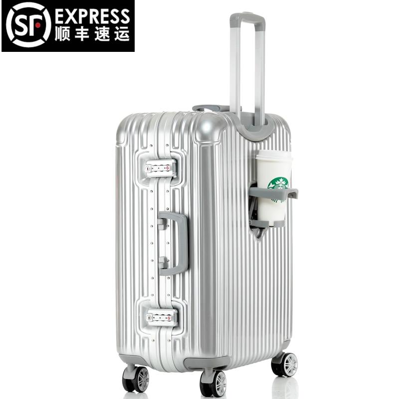 Dream traveller aluminum frame rod box suitcase caster password ...