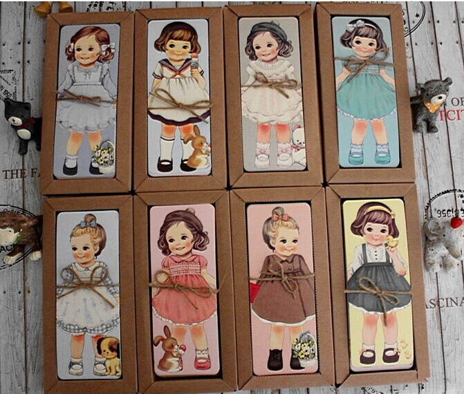 30PCS/lot  New Girl Doll Mate Series Bookmark Set With Kraft Package / Paper Bookmarks/ Book Holder / Message Card