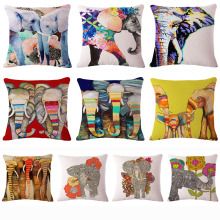 Colorful India Elephant Cotton Linen Pillow Case 18 inch Square Chair Waist Pillow Cover Home Garden