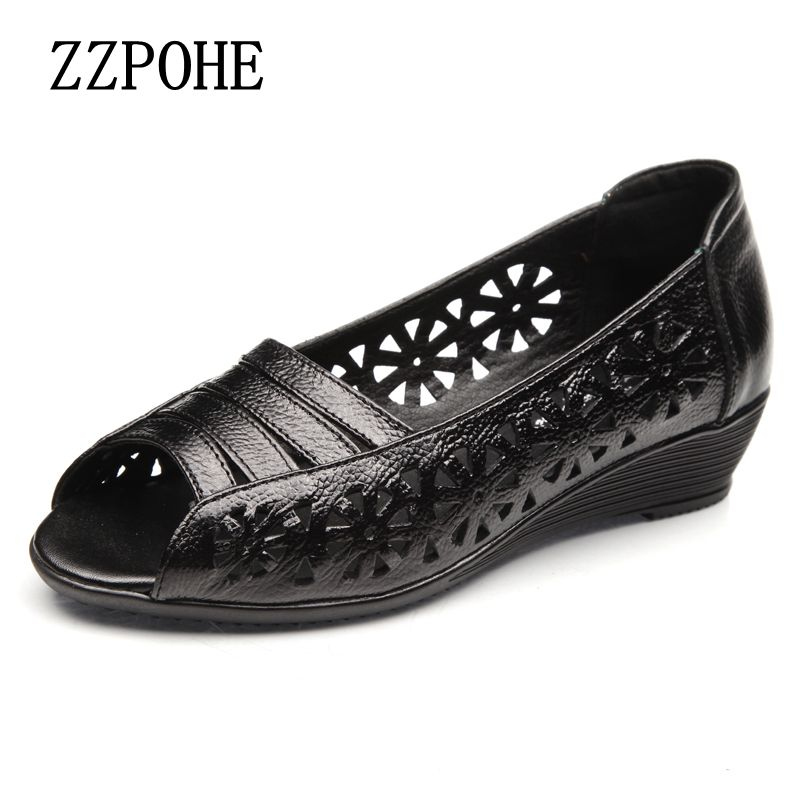 ZZPOHE Summer leather middle aged fish mouth sandals Women