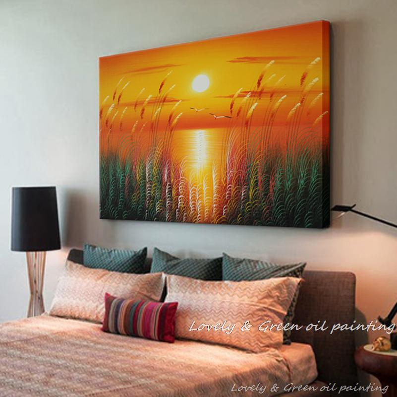 Handpainted Modern Landscape Oil Painting On Canvas Wall Art Beautiful Sunrise Picture For Home Decoration warm colour
