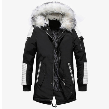 2019 Dropshipping New Winter Jacket Men Thicken Warm Parkas Casual Long Outwear Hooded Collar Jackets and Coats Men Veste Homme