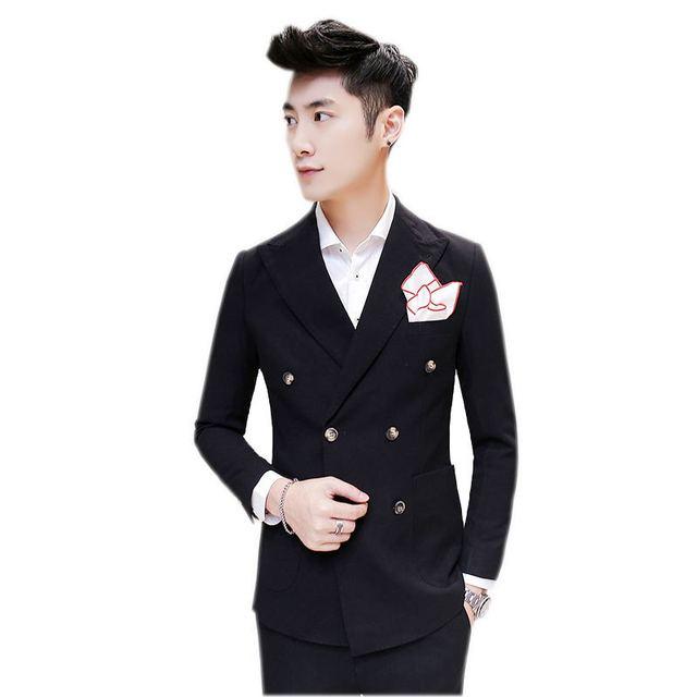 2016 (Casacos + Calças) de Alta qualidade dos homens casuais Dupla Breasted ternos pretos, Double Breasted homens blazer, vestido de noiva, frete grátis