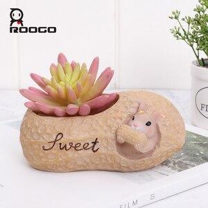 Image 2 - Roogo Muttern Haus Blumentopf Harz Töpfe Für Blumen Kleine Sukkulenten Pflanzer Nette Tier Bonsai Topf Für Home Garten Dekoration