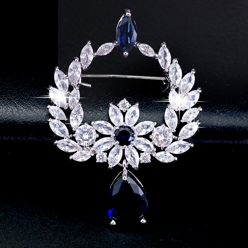 Vintage Turkish Wreath Hanging White Blue Teardrop Brooch Pins For Women Jewelry Silver Color Brooches Rhinestone Broches in Brooches from Jewelry Accessories