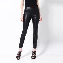 [CHICEVER] 2017 Autumn Fake Zippers Tight PU Leather Wide Leg Women Pants New Fashion