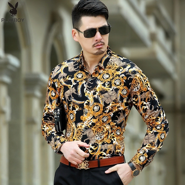 96c44d434cbbd4 2017 Heren Luipaard Print Jurk Shirts Zijde Barokke Heren Kleding Luxe Merk  Goud Chemise Abbigliamento Uomo