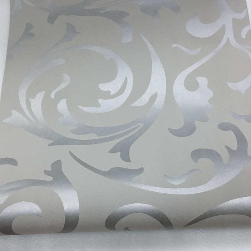 Gris 3D victorien damassé gaufré papier peint rouleau décor à la maison salon chambre revêtements muraux argent Floral luxe papier peint